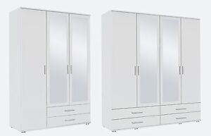 Rauch 'Rasant' 3 or 4 Door Wardrobe, White. German Made Bedroom Furniture.