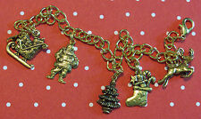 Christmas Holiday Charm Bracelet Santa Claus Sled Reindee 24 Karat Gold Plate 8""
