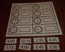 What Time Is It laminated preschool child learning game. Pre-K thru Kindergarten