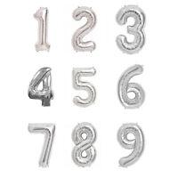Ballons chiffres 0 à 9 en alu argenté - décoration pour anniversaire ou fête