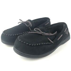 Dearfoams Slippers Men's Size 11-12 W Large Wide Black Memory Foam Moccasins EUC