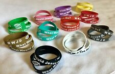 3 WWJD Wristband What Would Jesus Do Jewelry Silicone Rubber Bracelets COLORSSSS
