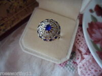 Antique vintage Sterling Silver Blue White Sapphire Ring size R Gold Accents