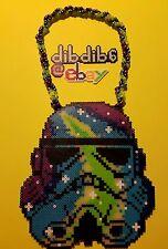 Stormtrooper galaxy perler kandi necklace, star wars PLUR EDC rave hama sprite