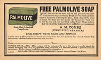 Jenny Lind AR~Ad~Free Palmolive Soap~A M Combs~Colgate-Peet Kansas City c1941*