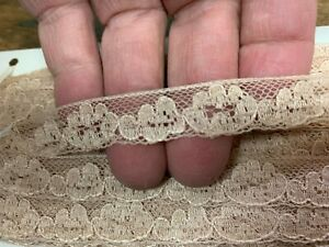 "Vintage 1/2"" Cotton Lace Trim Sand Beige 36yds original 1 pkg"