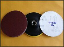 """10pc x100 Grits 5"""" 125MM ANGLE GRINDER VELCRO SANDING DISC & WHEEL BACKING PAD"""