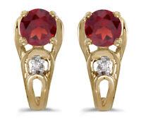 14k Yellow Gold Round Garnet And Diamond Earrings