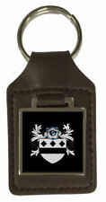 Aston Family Crest Surname Coat Of Arms Brown Leather Keyring Engraved