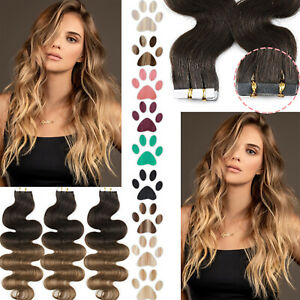 THICK Tape In Russian Remy Human Hair Extensions Skin Weft 20PCS Full Ombre Wavy