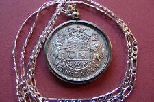 """Finer Grade 1944 CANADA 50c Silver coin Pendant & 26"""" Silver Link Chain."""