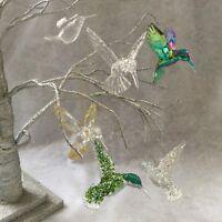 Hummingbird Hanging Decorations Acrylic Rainbow Gold Glitter Christmas Tree Bird