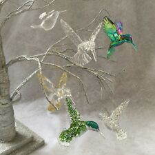Hummingbird Hanging Decorations Acrylic Rainbow Gold Glitter Christmas Tree Bird