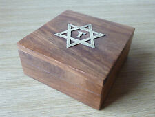 Wooden Trinket Box With Brass Star Of David Decorative With Four Compartments