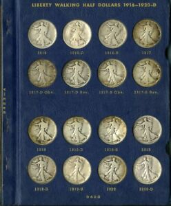 US Coin Collection 1916-1940 Walking Liberty Silver 50c COMPLETE SET NO RESERVE!