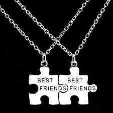 Collana per coppia BEST FRIENDS 2 Collane Ciondolo Partner Amicizia Puzzle nuovo
