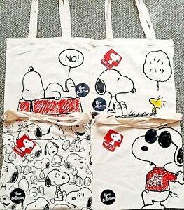SNOOPY Peanuts Cartoon Dog Woodstock Canvas Tote Bag