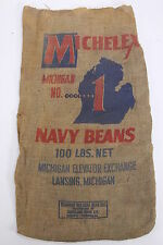 Michelex Michigan No 1 Navy Beans Burlap Jute Advertiser Gunny Sack Bag Lansing