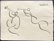 Picasso Original Pen Ink Hand Signed Drawing Musical Figures