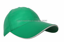 BASEBALL Summer Green unisex Soft nappa Lambskin genuine Leather Hip-Hop Hat