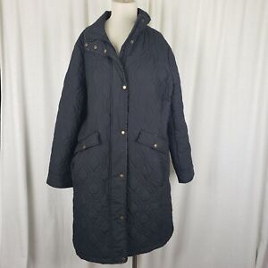 Lands End Quilted Insulated Zip Snap Up Long Jacket Coat Womens 0X 14W Plus Size