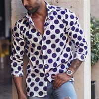 Vintage Men's Retro Polka Dot Long Sleeve Button Down Shirt Shirt Tee Blouse UK