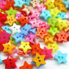 200pcs 12mm Mini Plastic Star Button 2Holes Craft Clothe Sewing Wholesale