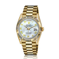 Rolex 36mm Presidential 18kt Gold White MOP Mother Of Pearl Roman Numeral Dial