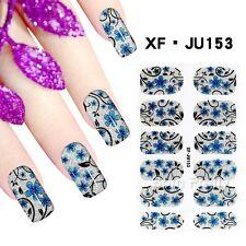 2Sheets Full Nail Wraps Elegant Blue Flowers Pattern Nail Art Transfer Sticker