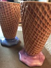 vintage ice cream glass waffle cone cups set of two 7x4