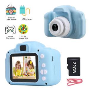 "Kids Digital Camera 2"" HD Display Children Boys Birthday Gift + 32GB SD Card"