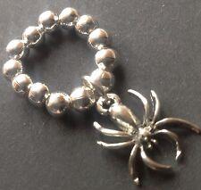Bijoux 5mm Plata Bola estiramiento anillo con Tibetano espeluznante Goth Araña encanto Boho