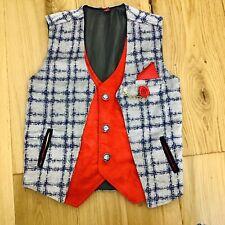 Age 7/8 26'' Boys Waistcoat Dressing Up Smart Wedding Horse Racing Smart Red Blu