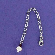 Necklace Extender, Garnet and Pearl .925, Sterling Silver 3 inch