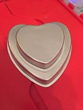 Wilton Heart Mini-Tier Pan Set Cake Pans Aluminum 2 Sizes Metal Small Pans