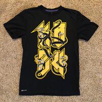Kobe Bryant Nike Dri Fit Black Mamba Mens Size Small T Shirt Black Gold Lakers