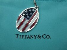 TIFFANY & CO AMERICAN FLAG STERLING SILVER OVAL CHARM PENDANT
