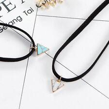 Retro Chic Simple Triangle Marble Pendant Necklace Black Velvet Choker Jewelry