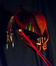 predator motorcycle helmet fiber optic dreads/ burnt copper airbrushed/ lasers