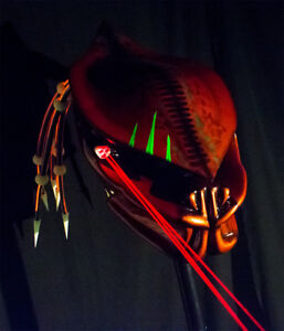 predator motorcycle helmet fiber optic dreads/ burnt copper airbrushed/ lasers