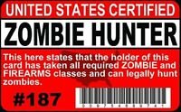 Official Zombie HUNTER drivers License / I.D. card for fans of the Walking Dead
