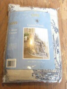 "Jubilee Cotton Throw Blanket Afghan 46"" x 60"" HUNTER Toile Blue/Beige NIP"