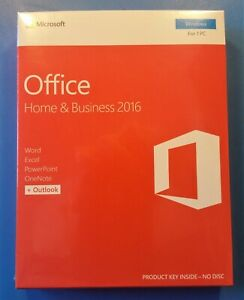 Microsoft Office Home and Business 2016 For 1 PC T5D-02776 New Sealed Retail Box