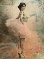 PAINTING DANCER WOMAN LADY PHOTOGRAPH FLORAL BALLERINA ART PRINT POSTER BB8418