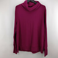 AnyBody Plush Terry Cowl-Neck Top Berry M     A345169