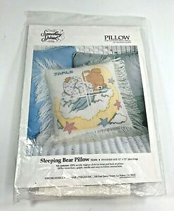 """Vintage Something Special Cross Stitch Afghan Cloth 12"""" Pillow Kit Fringe Bear"""