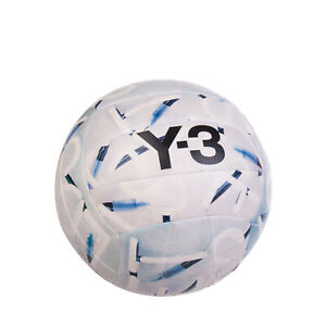 Y-3 Leather Volleyball Ball Logo Print Light Blue and Grey Multicolor Pattern