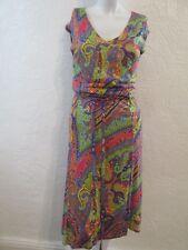 RALPH LAUREN DRESS PSYCADELIC MULTI FLORAL SIZE L SMALL FIT STRETCH UK S / M