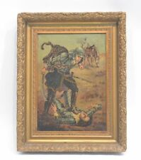 Duel Scene Oil Painting in Carved Gilt Frame