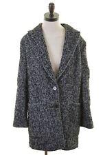 ESPRIT Womens Car Coat Size 14 Medium Black White Herringbone Wool Polyester